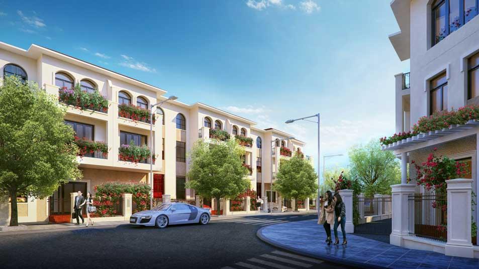 Đường nội bộ, nhà phố, vỉa hè trong dự án Senturia