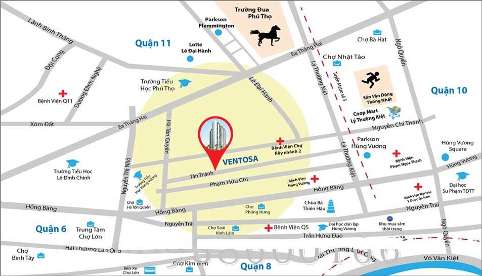 Vị trí căn hộ Ventosa Quận 5