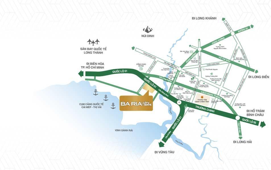 Vị trí dự án Bà Rịa City Gate