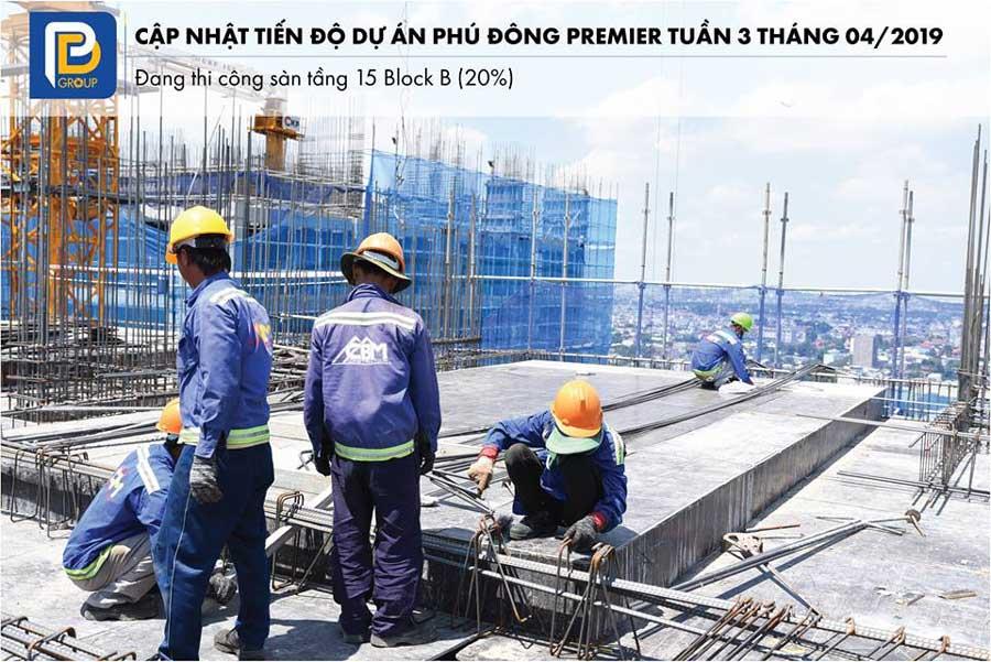 Tiến độ block B tầng 15 dự án An Phú Đông Premier