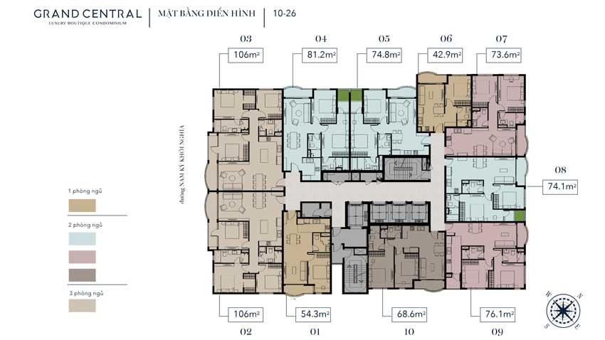 Mặt bằng thiết kế tầng 10 - 26 dự án Grand Central