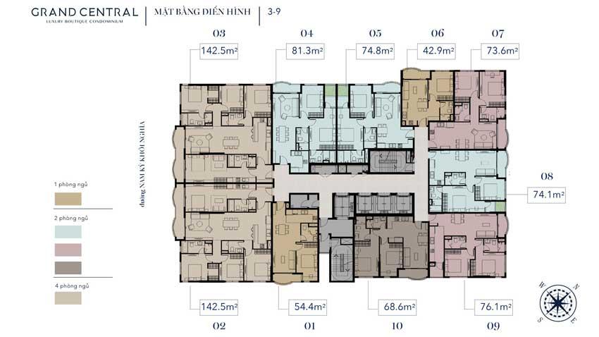 Mặt bằng thiết kế tầng 3 - 9 dự án Grand Central
