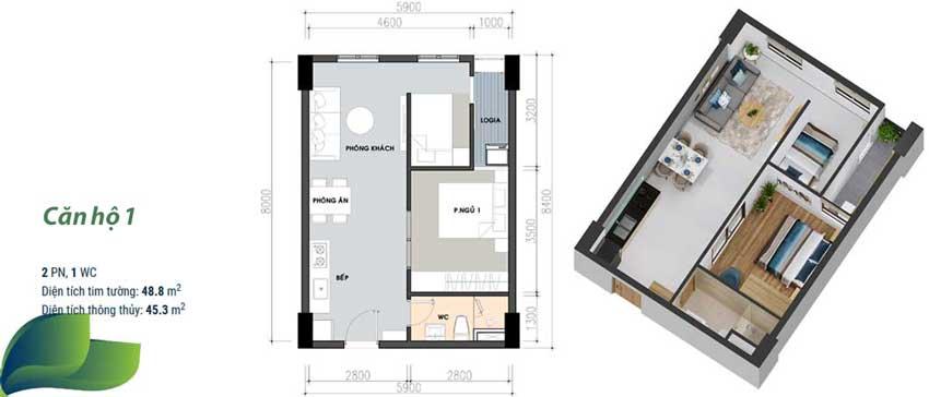 Thiết kế căn hộ số 1 - 1 phòng ngủ