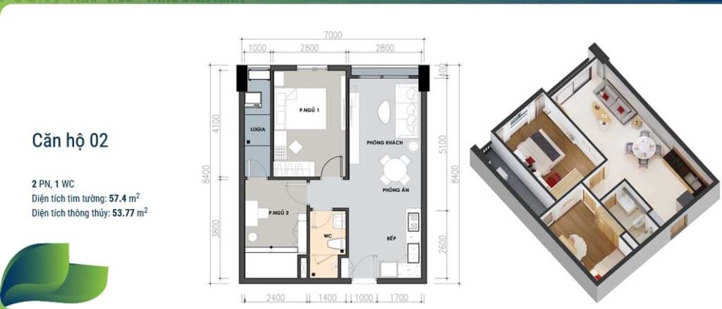 Căn hộ 2 phòng ngủ tại dự án Picity Thạnh Xuân