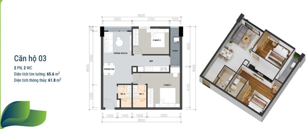 Thiết kế căn hộ 2 phòng ngủ 2 nhà vệ sinh
