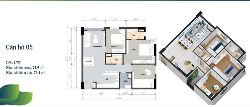 Thiết kế căn hộ 3 phòng ngủ tại dự án Picity