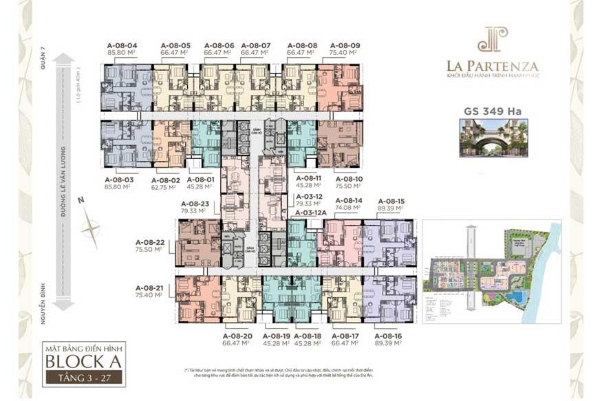 Thiết kế mặt bằng tổng thể block A - B dự án La Partenza