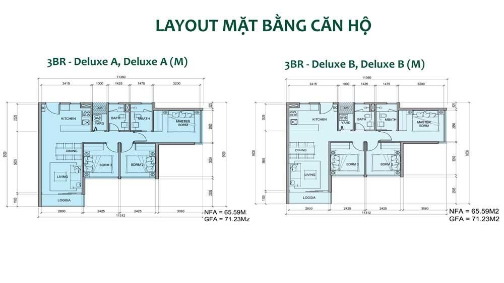 Thiết kế căn hộ loại 3 phòng ngủ căn hộ