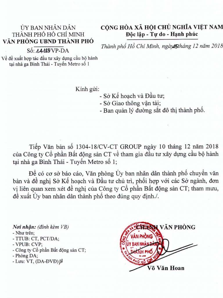 Văn bản trả lời của UBND thành phố về việc hợp tác làm cầu đi bộ