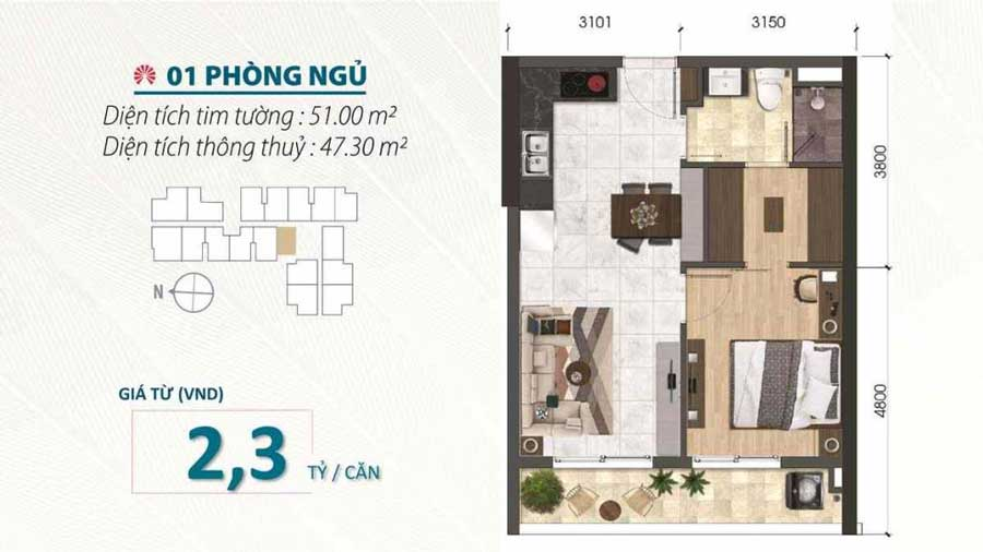 Thiết kế căn hộ 1 phòng ngủ dự án Saigon Asiana