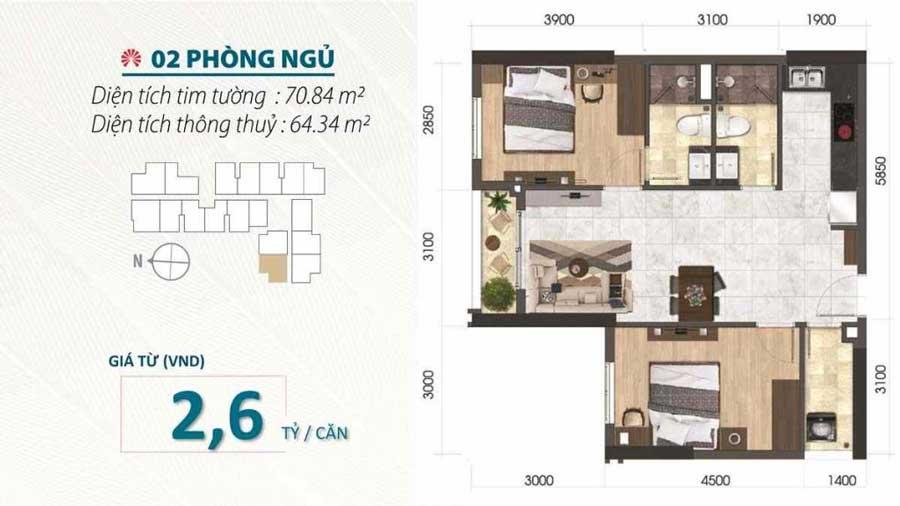 Thiết kế căn hộ 2 phòng ngủ dự án Saigon Asiana