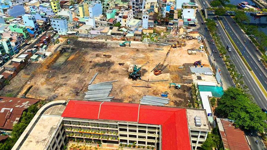 Tiến độ xây dựng trung tâm thương mại Satra Centre quận 6