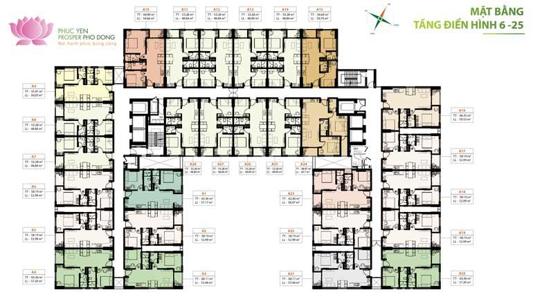 Mặt bằng tầng điển hình căn hộ Prosper Phố Đông