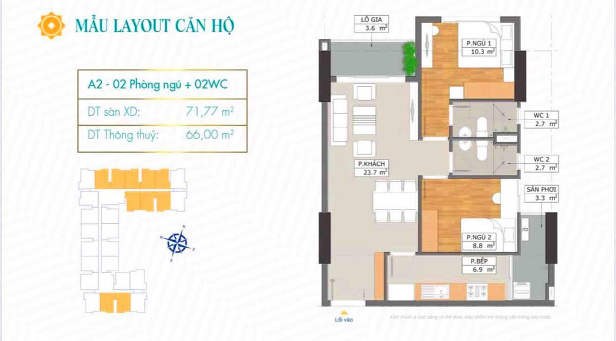 Thiết kế căn hộ A2 dự án Phú Đông SkyGarden