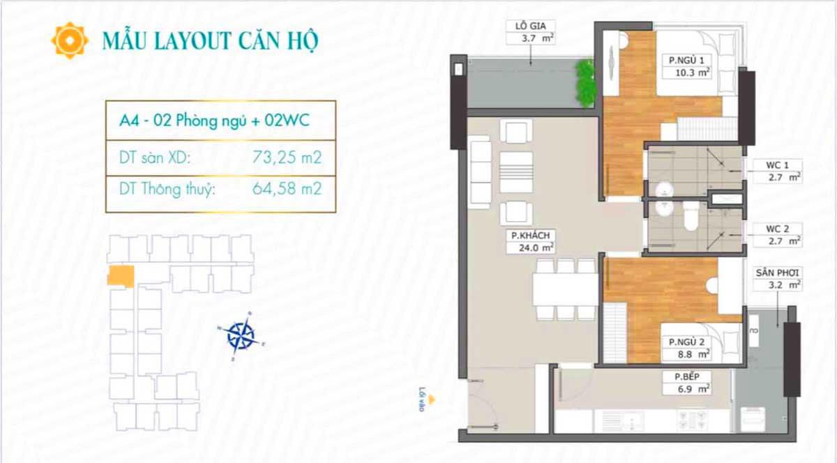 Thiết kế căn hộ A4 dự án Phú Đông SkyGarden