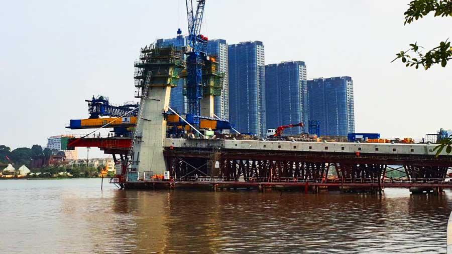 Tiến độ xây dựng cầu Thủ Thiêm 2 tháng 04 2020