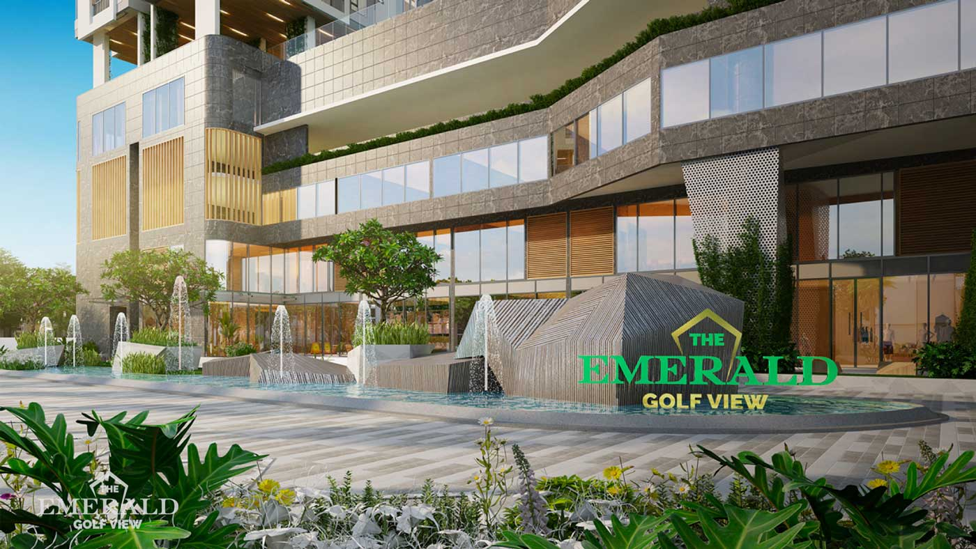 Banner phối cảnh mặt tiền chính đường quốc lộ 13 dự án The Emerald Golf View