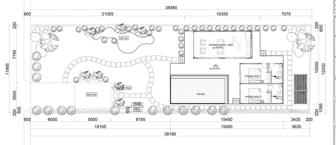 Mặt bằng thiết kế chung của dự án Garden House 2
