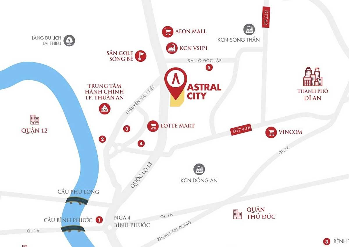 Vị trí dự án Astral City Bình Dương